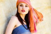 foto of yashmak  - Woman wearing a turban in the desert - JPG