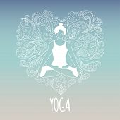 picture of  practices  - Yoga logo with heart and girl practicing lotus pose - JPG