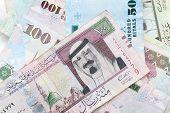 picture of saudi arabia  - Modern Saudi Arabia money banknotes close - JPG