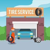 pic of gun shop  - Tire wheel service shop garage with car and mechanic flat vector illustration - JPG