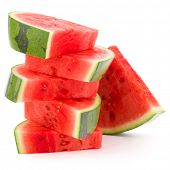 image of watermelon slices  - Sliced ripe watermelon isolated on white background cutout - JPG