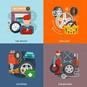 pic of gun shop  - Tire service flat set with shop car repair mechanic isolated vector illustration - JPG