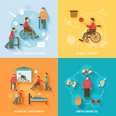 stock photo of disability  - Disabled flat icons set with limited opportunities sport activity hospital treatment birth defects isolated vector illustration - JPG