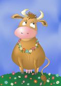 stock photo of moo-cow  - Beautiful pensive cow on a flower meadow - JPG
