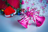 picture of christmas bells  - Pink christmas decoration bells in the party - JPG