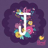 pic of letter j  - Vintage floral hand drawn monogram made of flowers - JPG