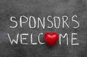 picture of chalkboard  - sponsors welcome phrase handwritten on chalkboard with heart symbol instead of O - JPG