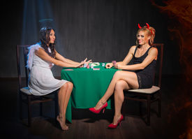 pic of sharpie  - Angel and devil playing cards at room - JPG