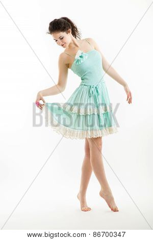 Young Brunette In Vintage Style Clothes Is Dancing.