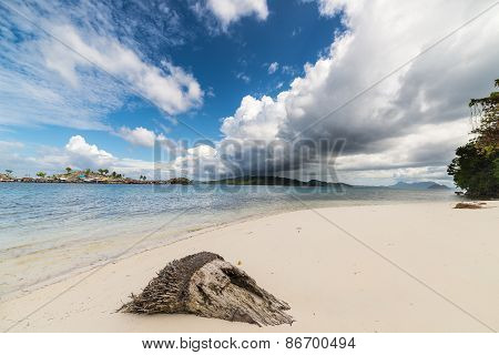 Tropical Weather Change On Idyllic Beach