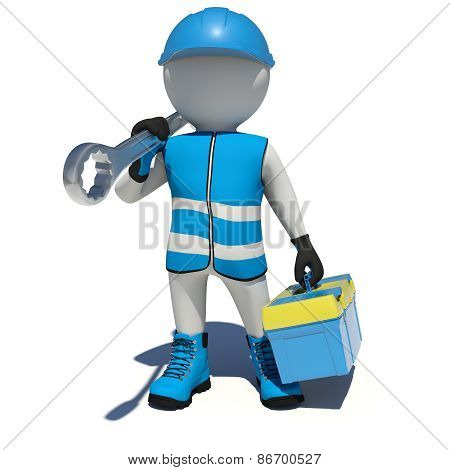 White man in overalls holding tool box and wrench on his shoulder. Isolated