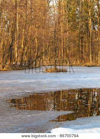 partly frozen lake