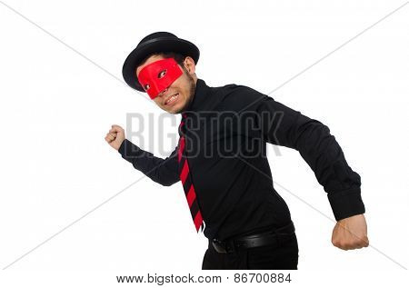 Young man with red mask isolated on white