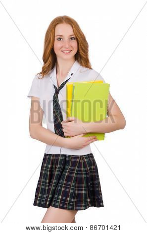 Young student female with textbooks isolated on white