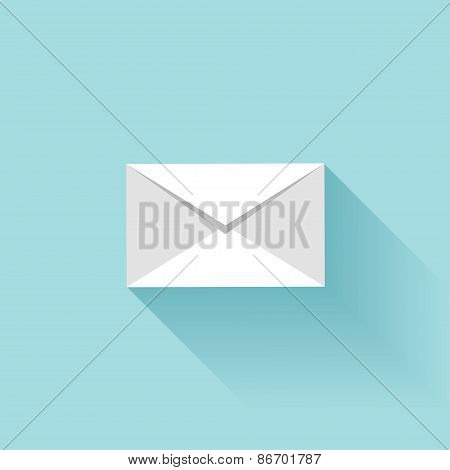 Flat letter icon with shadow. Sms or email symbol.