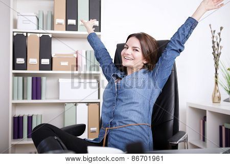 Happy Office Woman On Chair Extending Her Arms