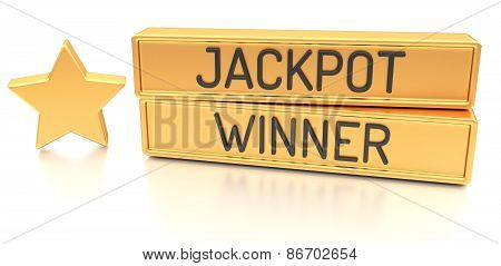 Jackpot Winner - 3D Banner, Isolated On White Background