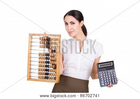 Business Woman With Abacus And Calculator