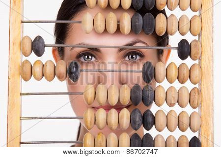 Portrait Of Young Business Woman With Abacus
