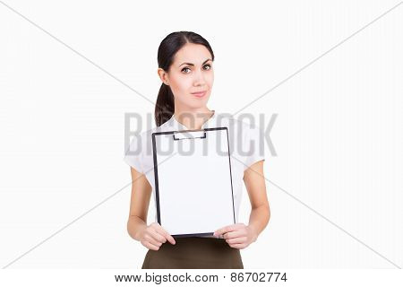 Creative Beautiful Business Woman Holding White Blank