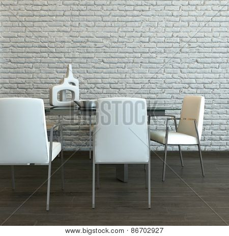 Elegant Designs of Glass Table and White Chairs Furniture at the Home Dining Area with White Brick Wall Background. 3d Rendering