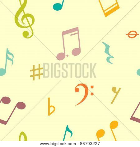 Vector seamless pattern of music notes and icons