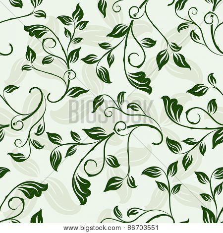 Seamless green floral spring vector background.