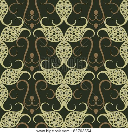 Abstract seamless green vintage floral vector pattern.