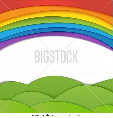 Rainbow vector background with green field. Paper realistic illu
