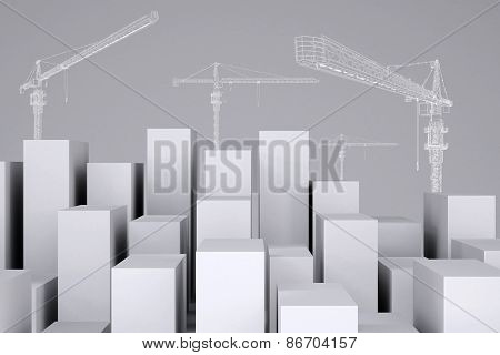 Minimalistic city of white cubes with wire-frame tower cranes. Cropped image