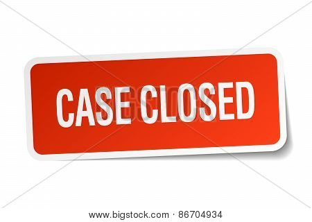 Case Closed Red Square Sticker Isolated On White