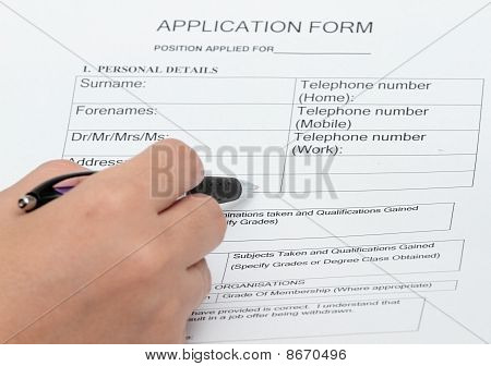Application And Personal Details Form