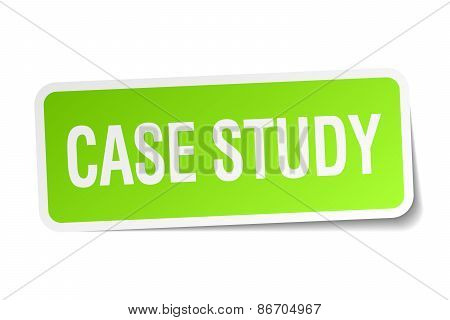 Case Study Green Square Sticker On White Background
