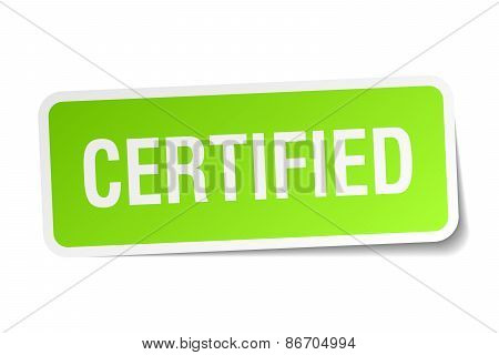 Certified Green Square Sticker On White Background