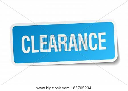Clearance Blue Square Sticker Isolated On White