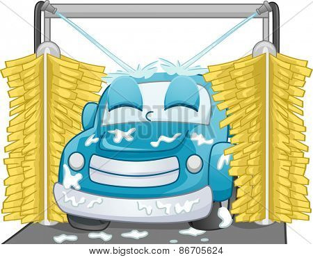 Mascot Illustration of a Satisfied Car Being Washed