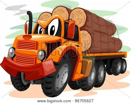 Mascot Illustration of a Truck Transporting Large Logs