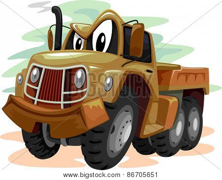Mascot Illustration of a Brown Military Truck Smirking