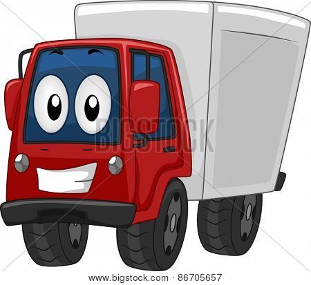 Mascot Illustration of a Delivery Truck Beaming Wide