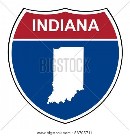 Indiana American interstate highway road shield isolated on a white background.