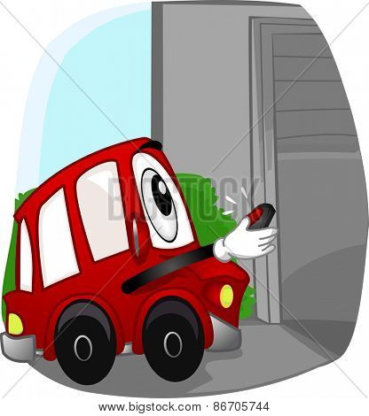 Mascot Illustration of a Car Opening the Garage with a Remote Control