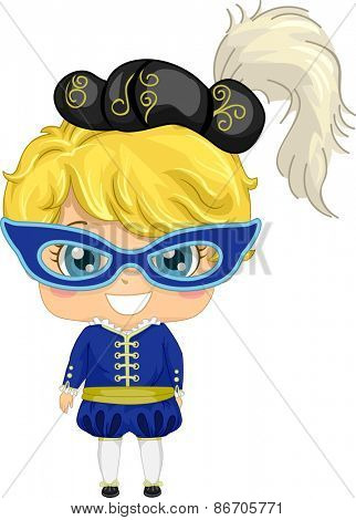 Illustration of a Little Girl Wearing a Masquerade Costume