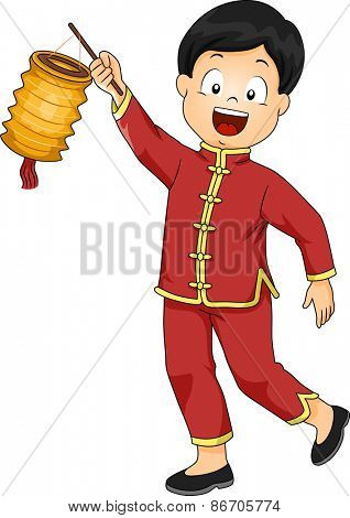 Illustration of a Boy Dressed in a Chinese Costume Carrying a Paper Lantern