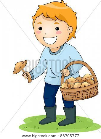 Illustration of a Little Boy Picking Mushrooms