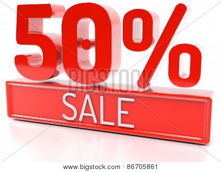 50% Sale, 50 Percent, 3D Discount Banner - Isolated, On White Background.