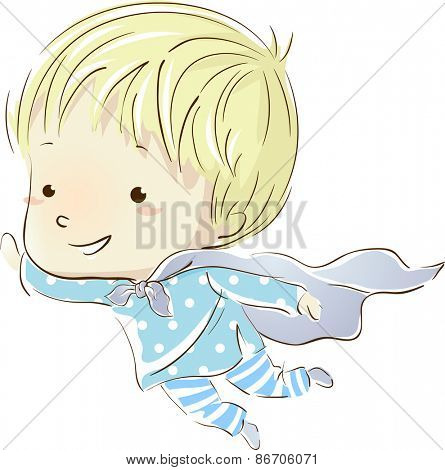 Illustration of a Little Boy in Pajamas Flying in His Dreams