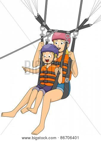 Illustration of a Boy Parasailing with His Mother