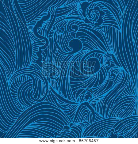 Blue hand drawing waves decorative background