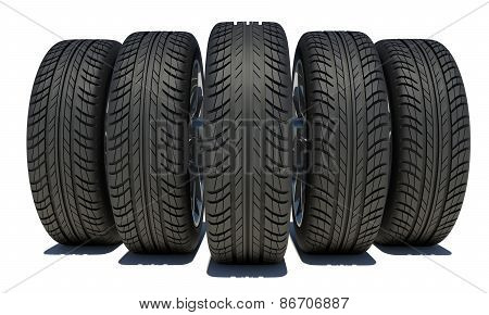 Wedge of five car wheels. Isolated on white background