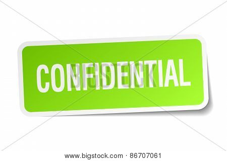 Confidential Green Square Sticker On White Background